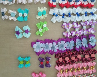 dog bows, mix and match any 12 sets listed in photo