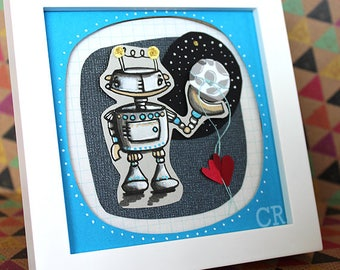 Robot Art, Robot Decor, Paper Cut Art, Paper cutting Art, Framed Art, To the moon and back, nerdy gifts, sci fi art, science art, I love you
