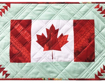 Canada Quilt Pattern PDF, Canada 150, Paper pieced, FQ friendly, Quilt Pattern and Table Runner, Modern Quilt, Canadian, Canada Flag