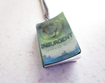 Insurgent Divergent Series by Veronica Roth Handcrafted Miniature Book Necklace Gunmetal Chain