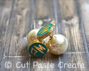 Monogram Earrings - Monogrammed Earrings - Initials Earrings - Peekaboo - Pearl Earrings Studs - Pearl Jewelry