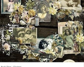 Digital Cluster Frames , Vintage and Shabby Chic style Digital Scrapbook Frame Clusters, Back Then