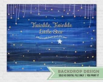 Twinkle Twinkle Little Star Backdrop Banner // Digital File Only