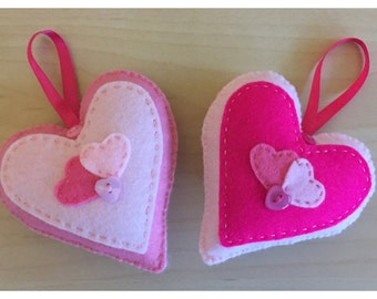 Hand stitched pink hanging hearts, home decor, any occassion, set of 2 hanging felt hearts. (HH001)