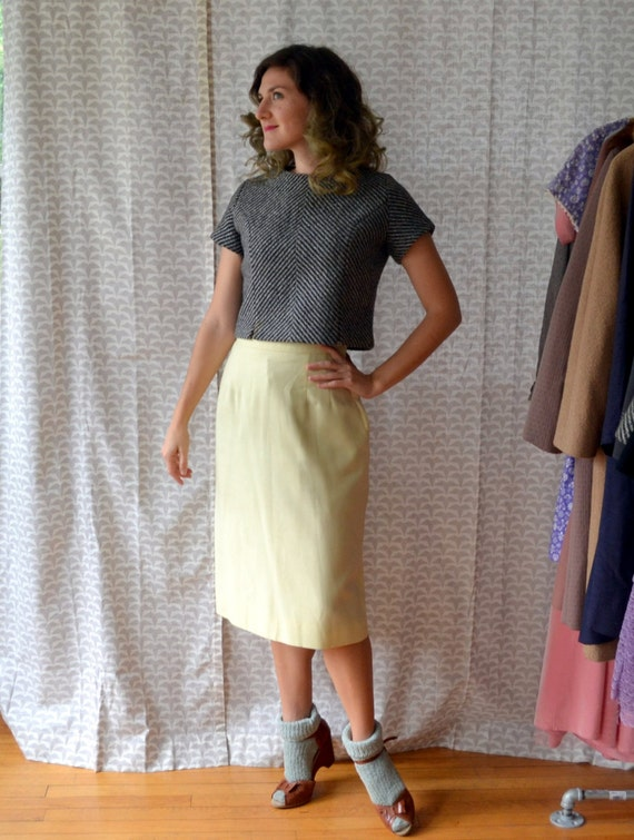 Lemon Crisp Skirt | Pastel Yellow 60's Pencil Skirt