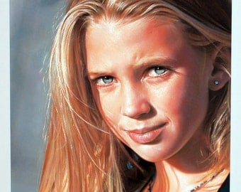 custom portrait,pastel portrait,pastel painting, painting from photo,girl