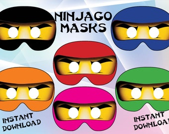 Instant Download - Ninjago masks , Ninjago Birthday ,Ninjago  party, Ninjago invitation, printable