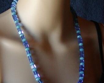 Blue Glass Aquamarine Color Quartz Necklace