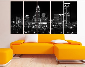 Downtown Charlotte canvas print, Charlotte skyline night extra large wall art canvas, large Charlotte black and white wall art canvas 2s23