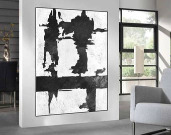 life wave original painting canvas wall art, black and white painting on canvas, original abstract art, large canvas art for living room,