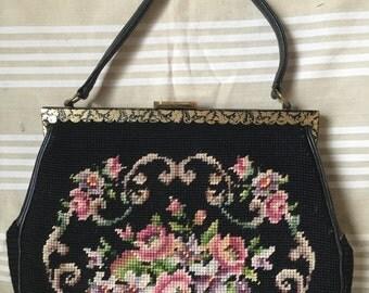 Vintage Needlepoint Wool Purse bag