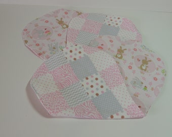 Baby bunnies and patchwork burp cloths- 2 pack