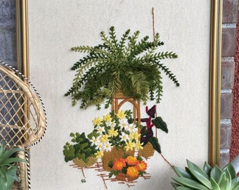 Vintage Boho Needlepoint Wall Art//Embroidered Wall Art//Plant Needlepoint