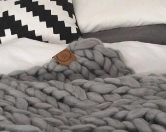 "Merino rug ""Summer"", chunky knit blanket, coarse knit blanket"