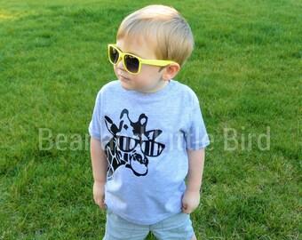 Kids Giraffe with Sunglasses Shirt - infant or toddler -