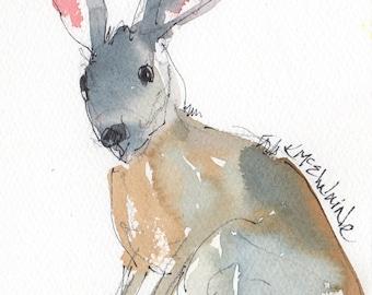 Original PAINTING of a TEXAS Jack Rabbit, Bunny Rabbit, Texas Hillcountry Rabbit, Jack Rabbit Artwork, Texas decor, Rabbit wall art