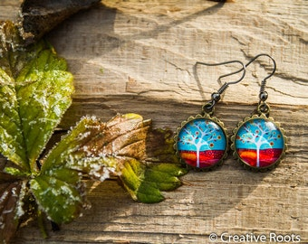 Resin Earrings with Tree in Autumn Theme,  Nickelfree
