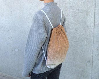 Cork gym bags, backpack, Cork leather, vegan leather, white paint splatters