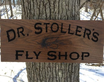 Fishing Sign, Business Sign, Carved Wood Signs, Workshop Sign, Personalized Wood Sign, Fly Fishing, Custom Sign Wood, Carved Wood Sign