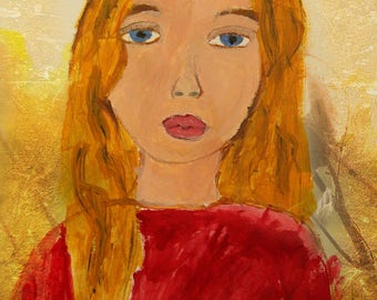 Painting of Girl (8x10 print - a copy)