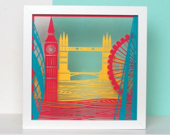 TOWN London papercut, The Shard, London Eye, Tower Bridge, The Gherkin, Big Ben