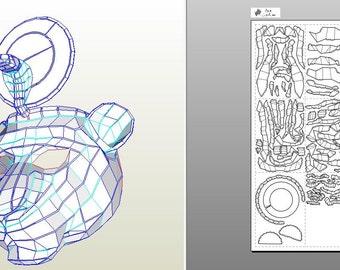 Create your own mask goddess Sekhmet.|Papercraft statue of Sekhmet.|Paper gods of Egypt.|Sekhmet.|