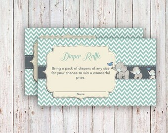 Elephant Baby Shower Diaper Raffle / Ticket Diaper Raffle Card / Diapers Raffles Printable Digital Files / Elephant Diaper Raffle