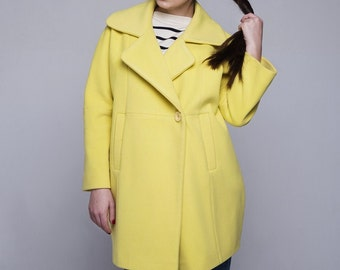 yellow neon wool coat