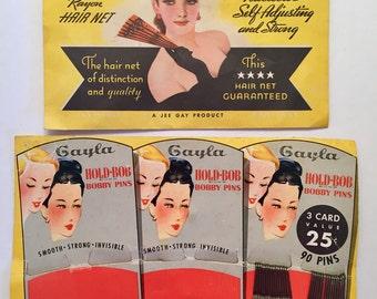 Vintage Alluria Hair Net Medium Brown and Gayla Hold-Bob Bobby Pins Vintage Pinup Girl Advertising Ephermera