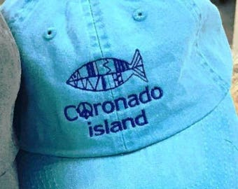 Beach Baseball Cap, Low Profile Baseball Hat, Weekend Baseball Cap, Turquoise Blue Hat, Embroidered Peace Sign, California Summer Hat