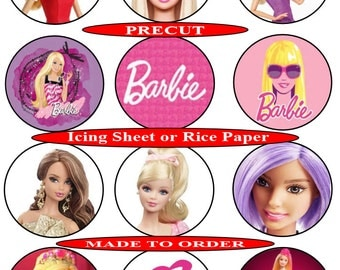 Barbie pre-cut edible cupcake toppers, 2 sizes