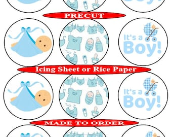 Baby Shower boy pre-cut edible cupcake toppers, 2 sizes