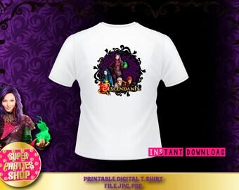 Descendants Digital  Printable T-Shirt Design, Custom Party, Descendant,Birthday,Party, Supply,Shirt