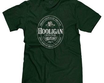 Irish Hooligan Beer Label St. Patrick's Day St. Patty's Lucky Funny Parody T-shirt Tee