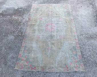 Beige Color Hand Made Overdyed Turkish Rugs 4.2'X7.2' feet ..