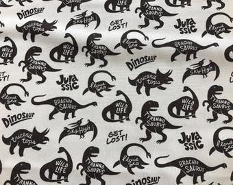 Dinosaur Jurassic Fabric White Black Blue