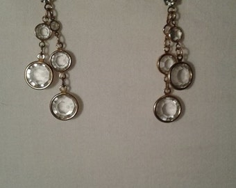 Vintage Art Deco Inspired Circular Gems Earrings with Facets