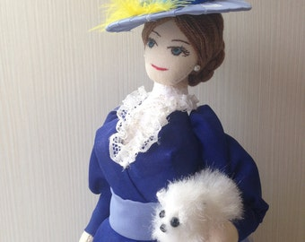 Art doll Lillian,decorative doll. Fabric doll. Textile doll. Heirloom doll. Cloth doll with lace hat.OOAK.Collectible doll handmade.