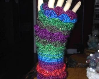 Dragonscale Fingerless Gloves - Gauntlet Length