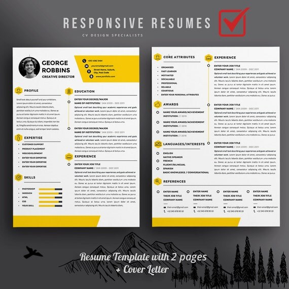 professional 3 page resume template cv extra page cover letter a4 us letter modern the robbin professional and creative design