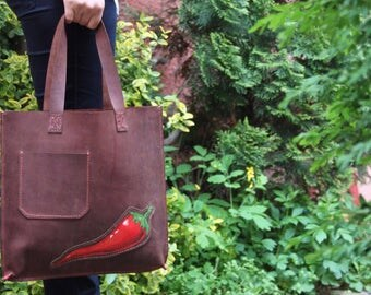 Hand stitched Handpainted leather bag. Tote bag