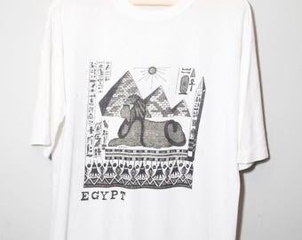Vintage 1970's Egypt Tour Sphinx Souvenir Shirt   Size Large