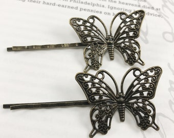 Metal Butterfly Hair Pin - Metal Butterfly Bobby Pin - Steampunk Butterfly Hair Accessories - Butterfly Hair Piece - Steampunk Butterfly