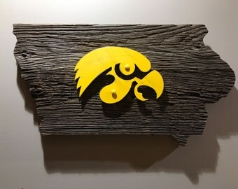 Iowa hawkeye weathered barn wood art