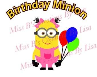 Girl Birthday Minion svg studio file studio3