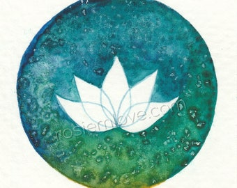Lotus Flower, Blues and Greens