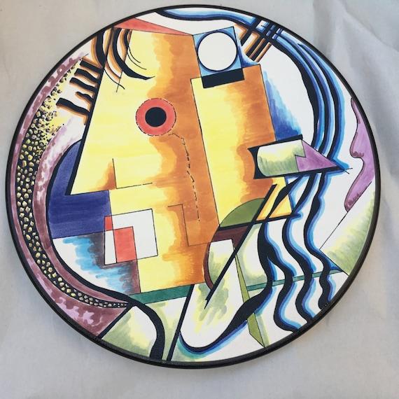 Plato de cer mica de 27cm arte cubista estilo picasso - Platos ceramica colores ...