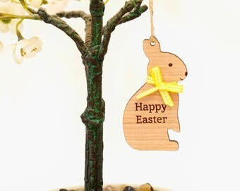 Personalised Wooden Easter Bunny Decoration, Easter Bunny Tree Decoration, Personalised Easter Tree Decoration,Easter Ornament,Easter Rabbit