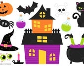 Happy Halloween, Witch, Black Cats - Cute Clipart, Clip Art - Commercial Use, Instant Download