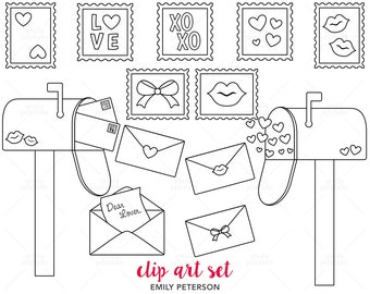 Love Letters, Valentine's Day, Mailbox - Cute Digital Stamps, Line Art  - Commercial Use, Instant Download